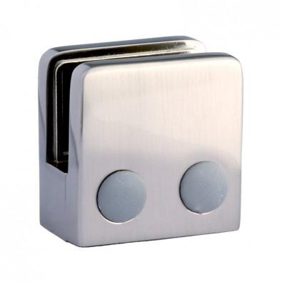 Pince à verre carrée 45 x 45 mm pour tube ø 33,7mm zamac finition inox verre 10 mm