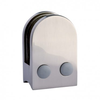 Pince à verre demi-ronde 45x63mm pour support plat zamac finition inox verre 8,76 mm