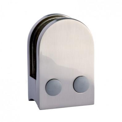 Pince à verre demi-ronde 45x63mm pour support plat zamac finition inox verre 10 mm