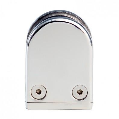 Pince à verre demi-ronde 38x59mm sur support plat inox 316 poli miroir verre 6 mm