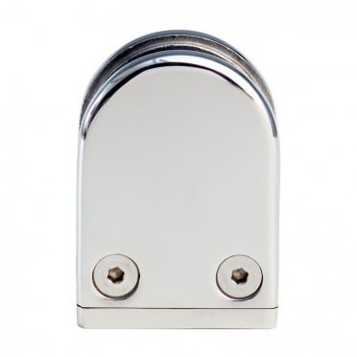 Pince à verre demi-ronde 38x59mm sur tube ø42,4mm inox 316 poli miroir verre 7,52 mm