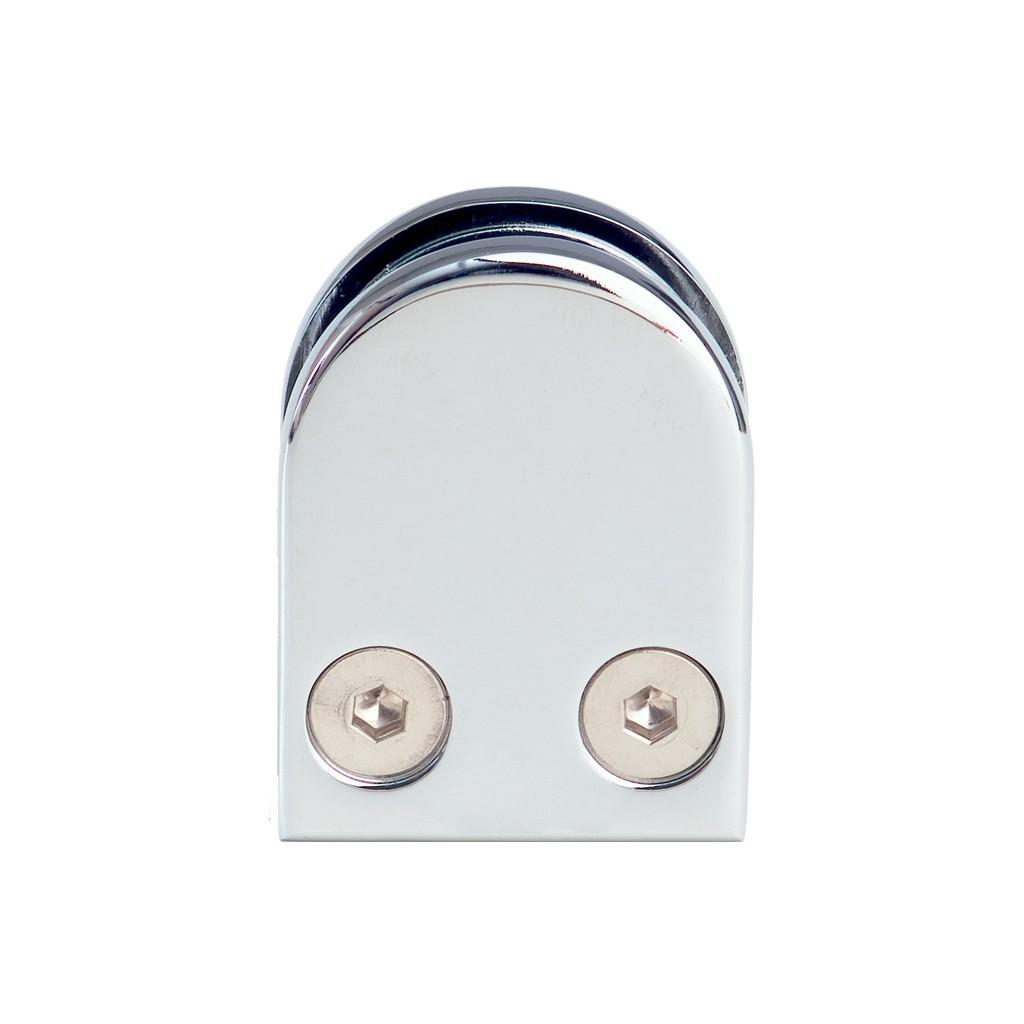 Pince verre 6 mm demi ronde 40x50mm support plat zamac for Miroir 50 mm