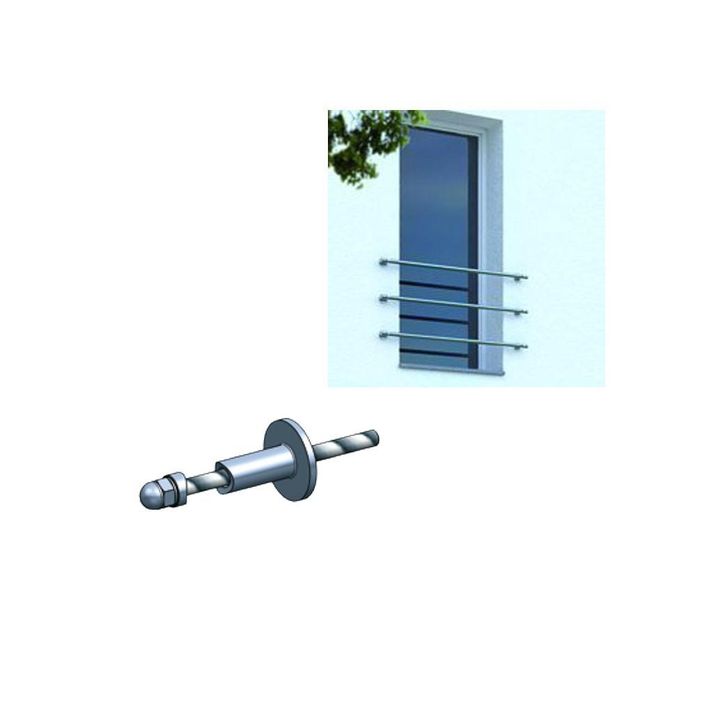 Fixation discr te d 39 appui de fen tre en tube 33 7 mm inox for Kit fixation fenetre
