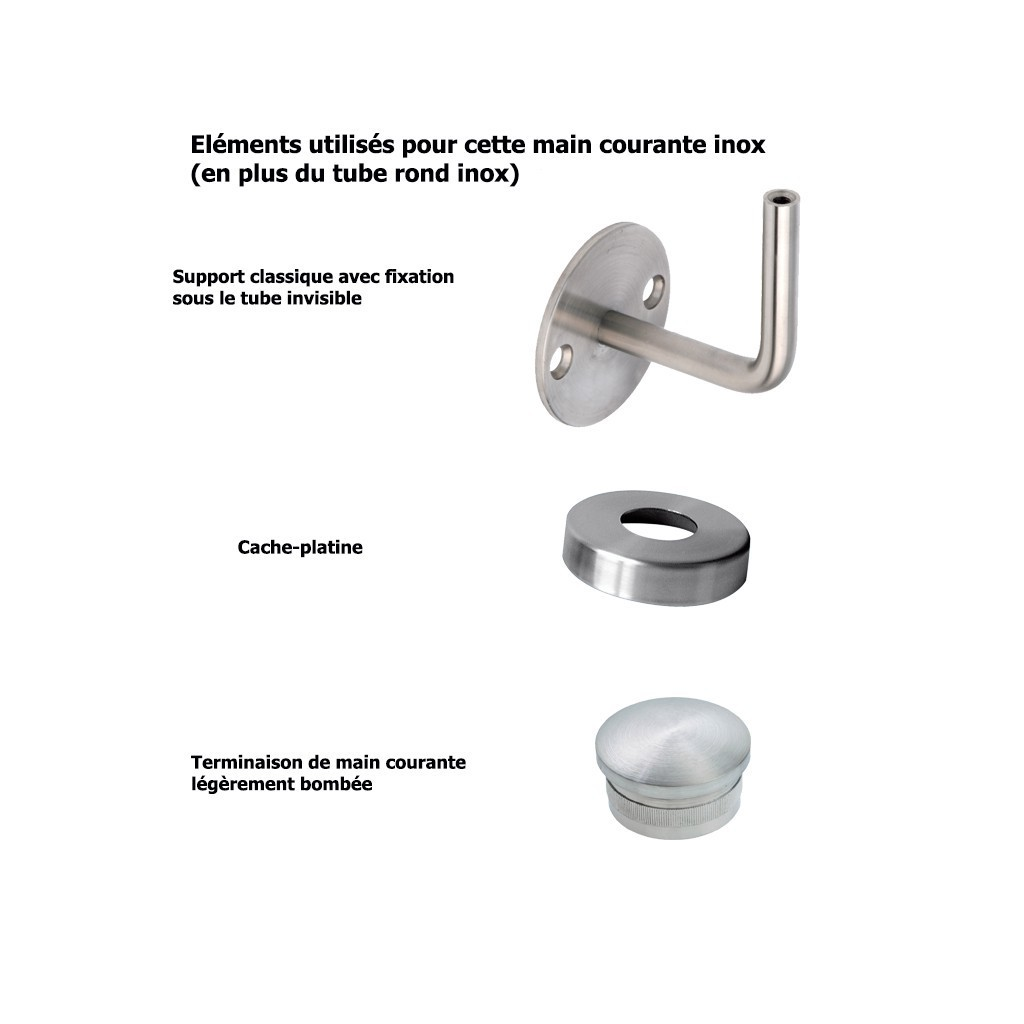 Main courante sur mesure inox bross cache platines for Inox brosse sur mesure