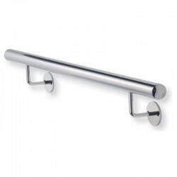 Main courante classique inox poli miroir sur mesure avec cache-platines, embouts plats