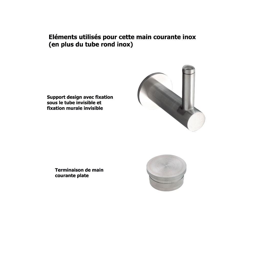 main courante design inox bross sur mesure embouts plats. Black Bedroom Furniture Sets. Home Design Ideas