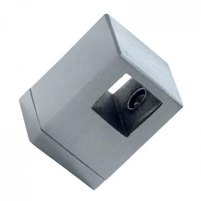 Support de lisse 12/12 mm transversal inox 304 brossé sur support plat