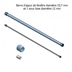 Garde corps de fenêtre en inox brossé diamètre 33,7 mm et 1 lisse 12 mm