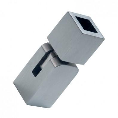 Raccord de lisse carrée 12/12 mm orientable de 0 à 90° inox 304 brossé