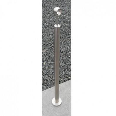 Poteau rond de rampe escalier inox support articulé avec bague de main courante