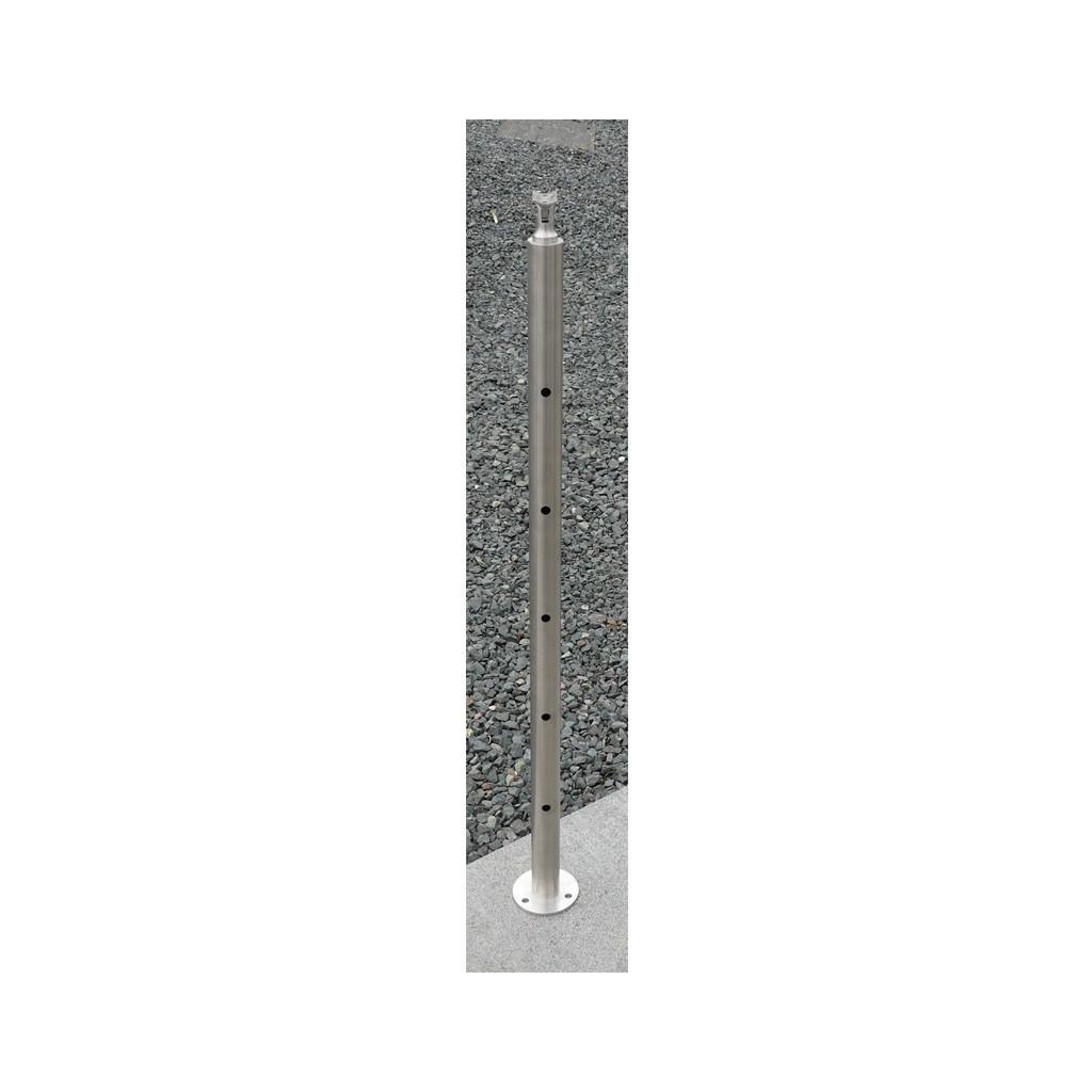 poteau d part garde corps inox 5 barres 12 mm sobre et l gant. Black Bedroom Furniture Sets. Home Design Ideas