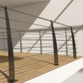 Poteau design contemporain martelé de garde corps acier pont de bateau à la française 6 lisses 12 mm main courante 26,9 mm 3