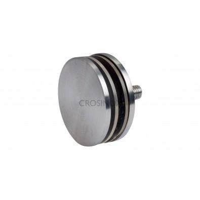 Support de verre diamètre 70 mm verre 4 à 18 mm sur support plat inox 316 brossé