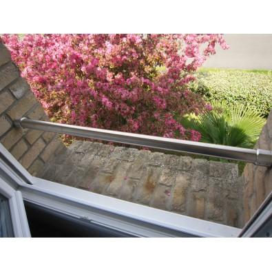 Barre d'appui de fenêtre ronde en inox brossé diamètre 33,7 mm