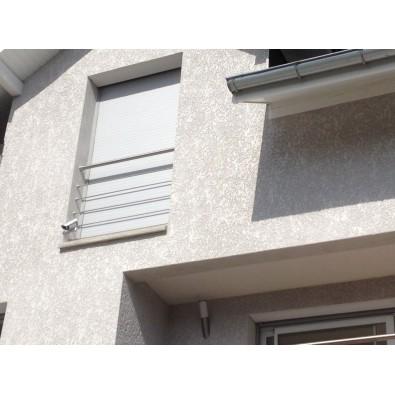 Garde corps de fenêtre en inox brossé diamètre 33,7 mm et 3 lisses 12 mm