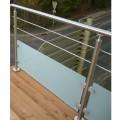 Poteau d'angle à 90° pour verre 8,76 mm et barres 12mm inox 304 brossé 1