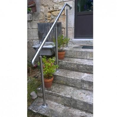 Rampe d'accès inox en kit avec BAGUE pour escalier, terrasse ou plateforme : qualité et prix !