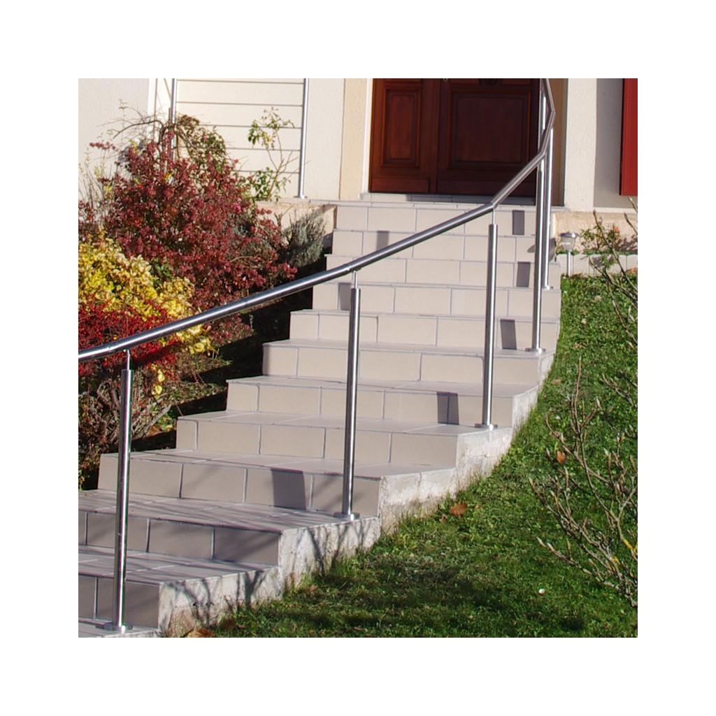 Rampe escalier inox en kit sur poteaux - Fixation pour rampe d escalier ...
