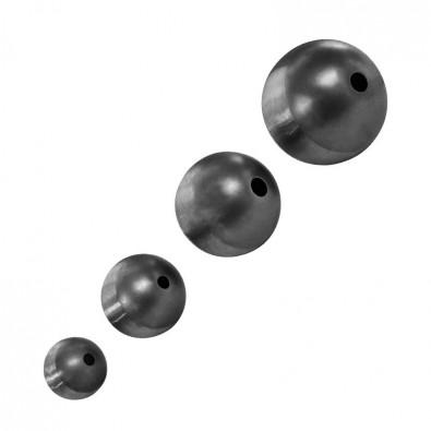 Boule d'ornement en acier lisse creuse diamètre 90 mm, 1 perçage ø 11 mm