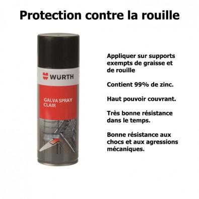 Galva spray clair 99% zinc protection contre la corrosion des aciers