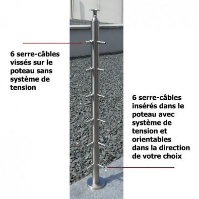 Poteau d'angle à 90° de garde corps inox avec 6 tendeurs et 6 serre-câbles et cache platine