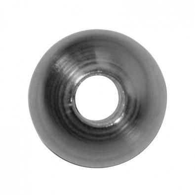 Bague boule en acier brut et lisse, Ø35mm avec trou débouchant Ø12,2mm