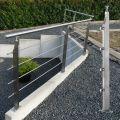 Garde corps inox en kit 4 barres avec poteaux design pour terrasse, escalier, balcon ou mezzanine 4