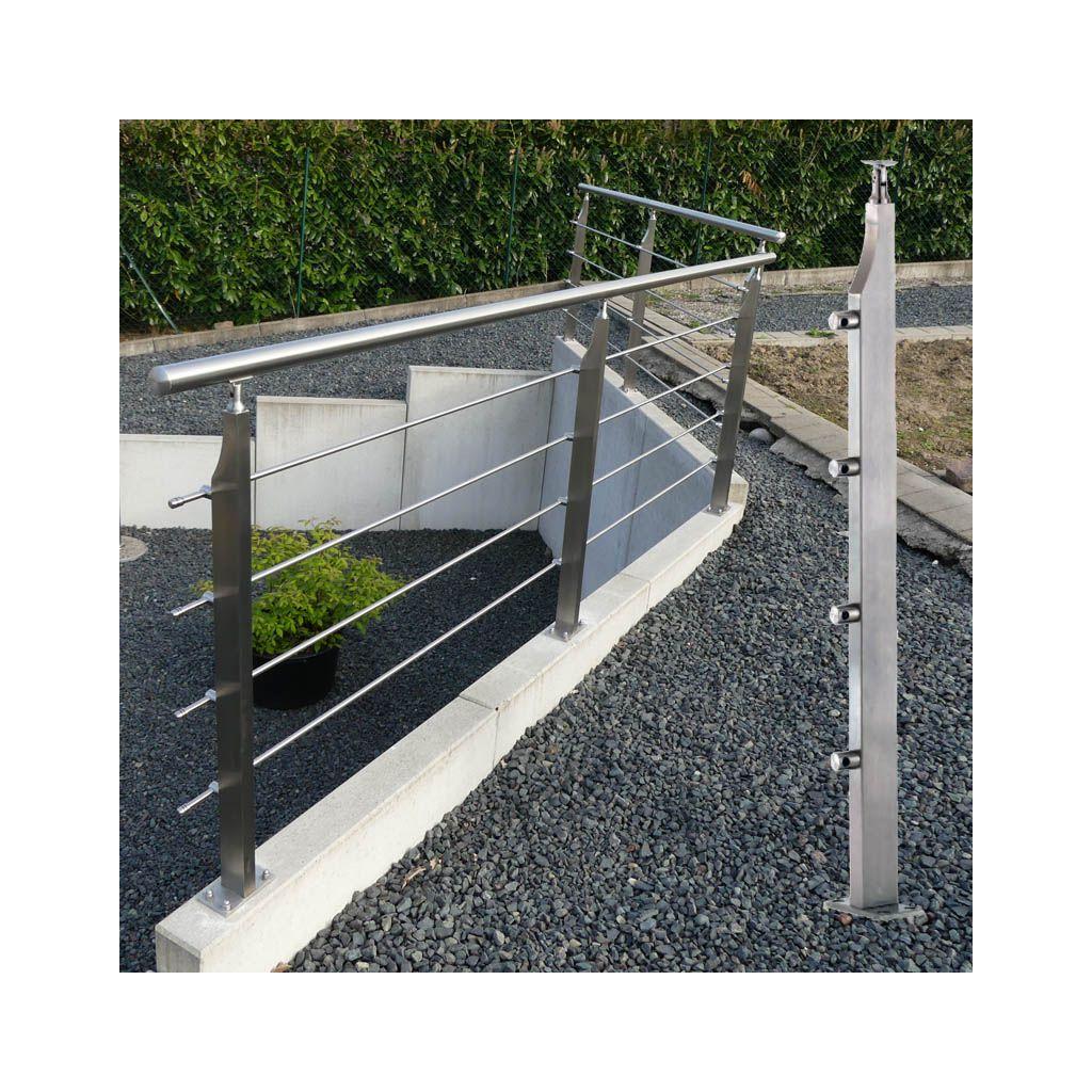 Garde corps inox avec poteaux rectangulaires design - Garde corps en kit pour terrasse ...