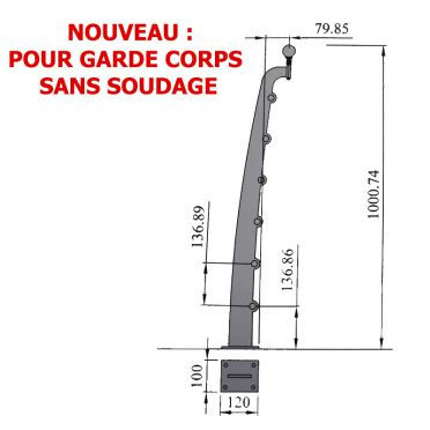 Poteau de garde corps en acier brut design contemporain découpé au laser pose à la française