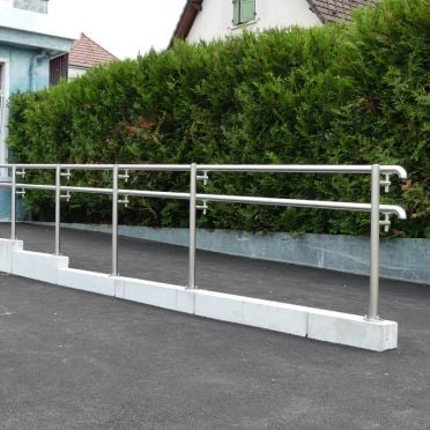 Double main courante rampe ERP PMR en inox 304 brossé, en kit
