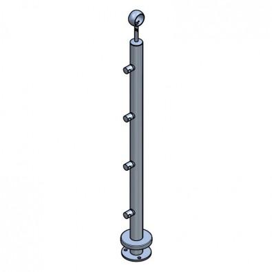Poteau ø42,4 mm,  bague et 4 supports de lisses ø12 mm inox 304 brossé