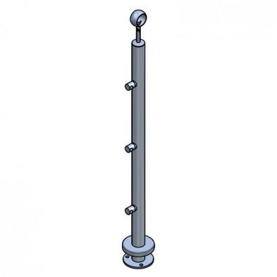 Poteau ø42,4 mm,  bague et 3 supports de lisses ø12 mm inox 304 brossé