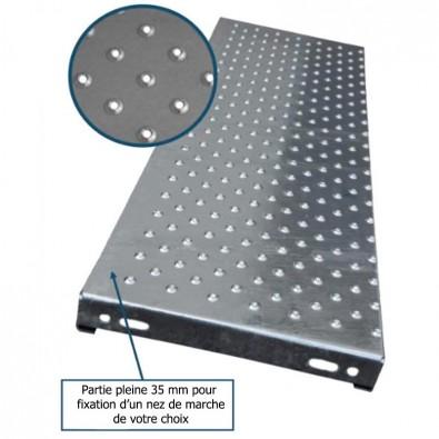 Marche escalier acier à picots antidérapants 1400 x 330 mm galvanisée