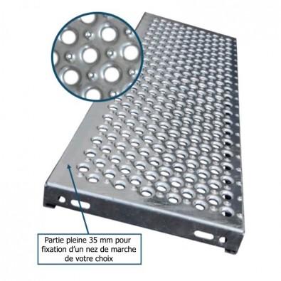 Marche escalier acier à picots antidérapants et grandes perforations 1000 x 330 mm galvanisée