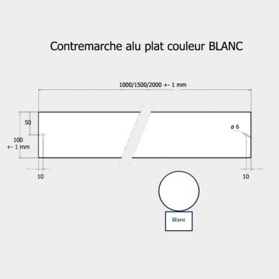 Contremarche aluminium 100 x 2000 BLANC recoupable
