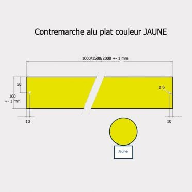 Contremarche aluminium 100 x 1500 mm JAUNE recoupable