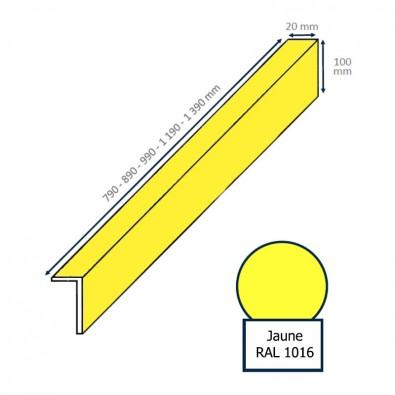 Contremarche cornière 890 x 100 x 20 mm JAUNE pour fixation sous la marche