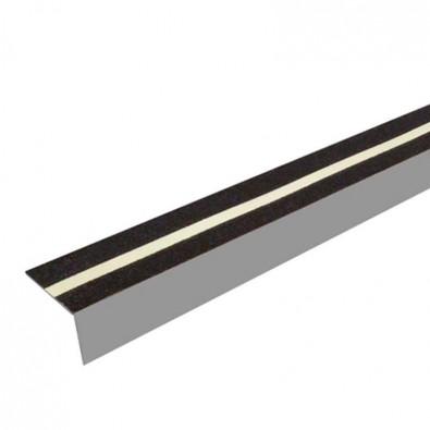 Nez de marche antidérapant aluminium larmé, longueur 2 mètres, à visser ou à coller, couleur ALU NATUREL