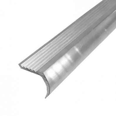 Nez de marche arrondi antidérapant aluminium, longueur 2 mètres, couleur ALU NATUREL