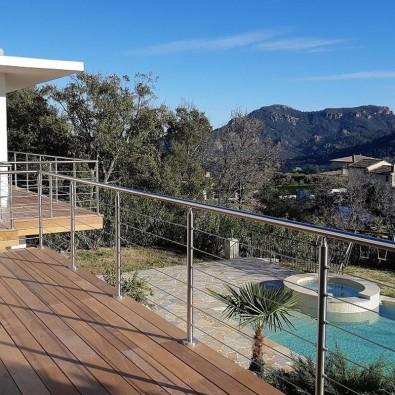 Garde corps à câbles en inox en kit à la française : terrasse, balcon, mezzanine