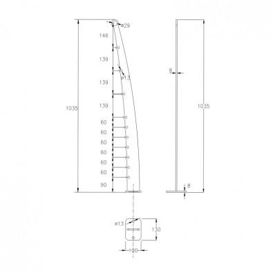 Poteau design contemporain de garde corps acier pont de bateau à la française 10 lisses 12 mm main courante 26,9 mm